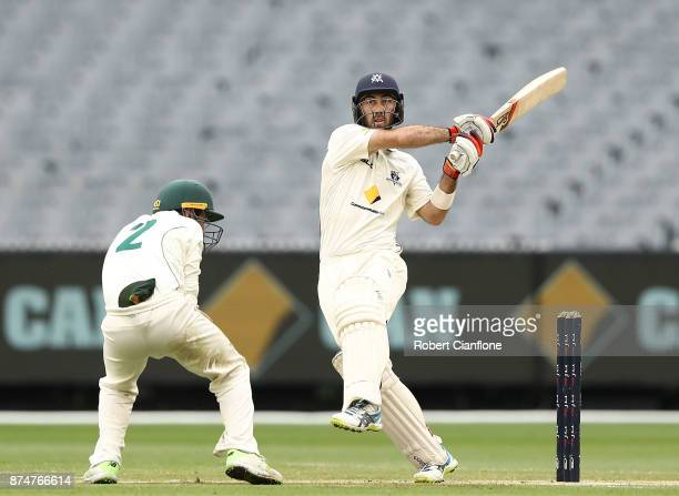 Glenn Maxwell of Victoria bats during day four of the Sheffield Shield match between Victoria and Tasmania at Melbourne Cricket Ground on November 16...