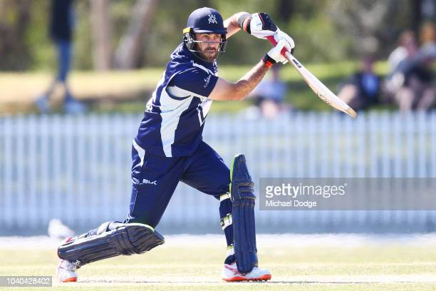 Glenn Maxwell of Victoria bats during the JLT One Day Cup between Victoria and Western Australia at Junction Oval on September 26 2018 in Melbourne...