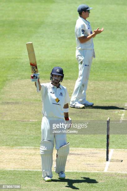 Glenn Maxwell of Victoria celebrates after reaching 250 runs during day two of the Sheffield Shield match between New South Wales and Victoria at...