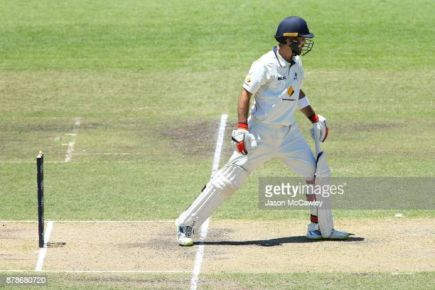 Glenn Maxwell of Victoria is bowled by Stephen O'Keefe of NSW for 278 runs during day two of the Sheffield Shield match between New South Wales and...