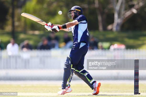 Glenn Maxwell of Victoria is dismissed from this stroke off the bowling of Andrew Tye of Western Australia during the JLT One Day Cup between...