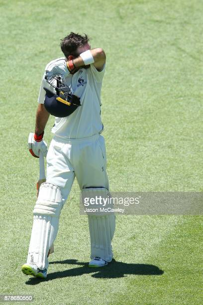 Glenn Maxwell of Victoria looks dejected after been dismissed by Stephen O'Keefe of NSW for 278 runs during day two of the Sheffield Shield match...