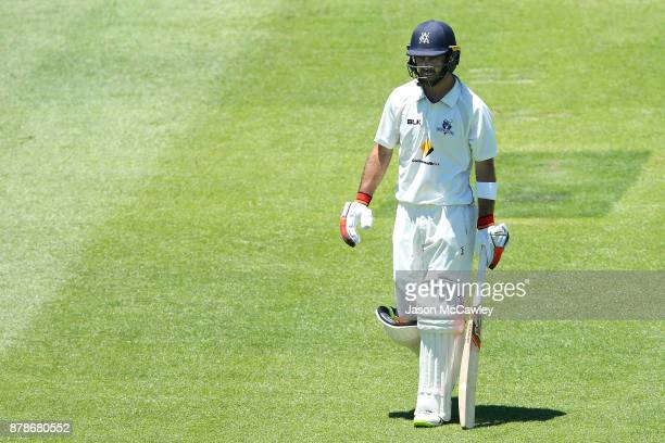 Glenn Maxwell of Victoria looks dejected after being dismissed by Stephen O'Keefe of NSW for 278 runs during day two of the Sheffield Shield match...