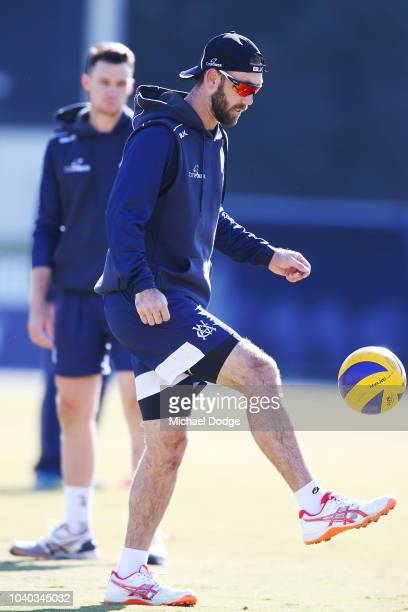 Glenn Maxwell of Victoria warms up during the JLT One Day Cup between Victoria and Western Australia at Junction Oval on September 26 2018 in...