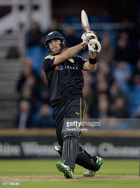 Glenn Maxwell of Yorkshire hits out for six runs during the NatWest T20 Blast match between Yorkshire and Nottinghamshire at Headingley on June 19...