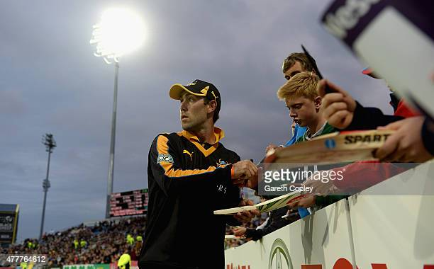 Glenn Maxwell of Yorkshire signs autographs during the NatWest T20 Blast match between Yorkshire and Nottinghamshire at Headingley on June 19 2015 in...