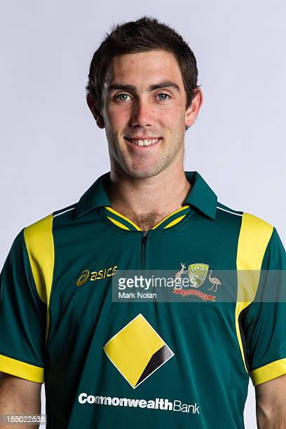 Glenn Maxwell poses during the official Australian One Day International cricket team headshots session on August 9 2012 in Darwin Australia