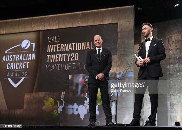 Glenn Maxwell speaks on stage after being awarded the Male International Twenty20 Player of the Year during the 2019 Australian Cricket Awards at...
