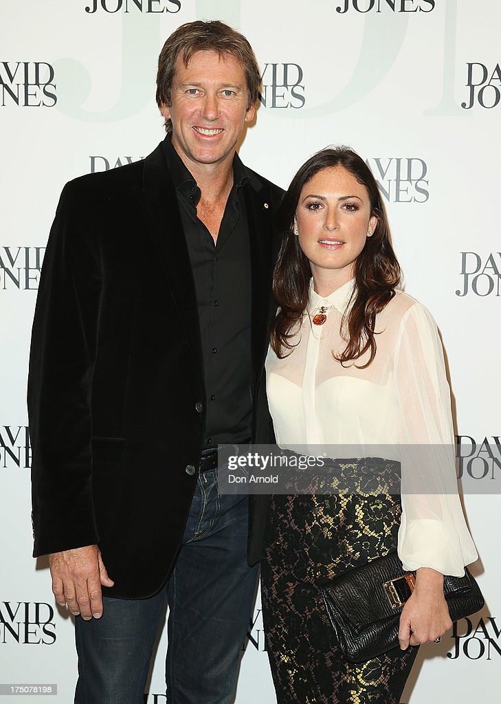 Glenn McGrath and Sara Leonardi arrive at the David Jones Spring/Summer 2013 Collection Launch at David Jones Elizabeth Street on July 31, 2013 in Sydney, Australia.