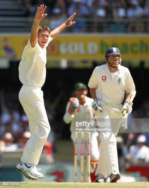 Glenn McGrath appeals successfully for the wicket of England batsman Steve Harmison caught behind by wicketkeeper Adam Gilchrist during the 1st Test...