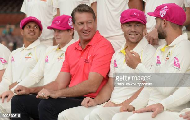 Glenn McGrath joins the Australia team to pose for team photograph before the fifth Ashes cricket test match between Australia and England at the...