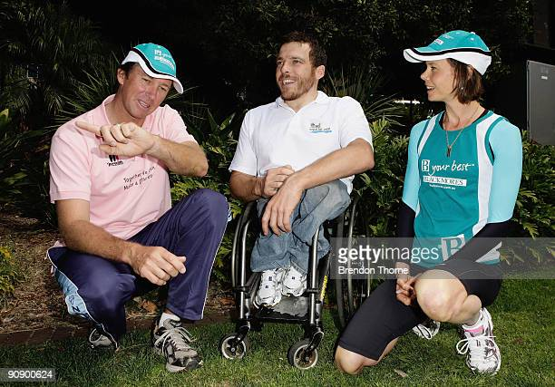 Glenn McGrath Kurt Fearnley and Antonia Kidman discuss race tactics during a photo call ahead of Sunday's Blackmores Sydney Running Festival...