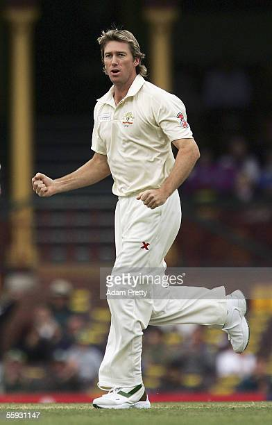 Glenn McGrath of Australia celebrates after taking the wicket of Graeme Smith of the World XI during day 3 of the Johnnie Walker Super Series between...