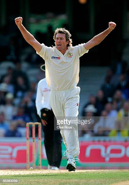 Glenn McGrath of Australia celebrates taking the wicket of Michael Vaughan of England during day five of the fifth npower Ashes Test match between...
