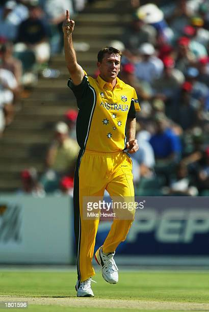 Glenn McGrath of Australia celebrates the wicket of InzamamulHaq of Pakistan during the ICC Cricket World Cup 2003 Pool A match between Australia and...