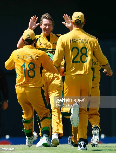 Glenn McGrath of Australia celebrates the wicket of Jacques Kallis of South Africa during the ICC Cricket World Cup Semi Final match between...