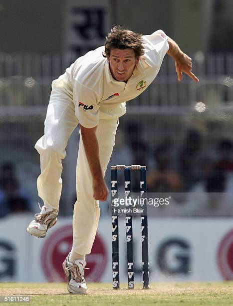 Glenn McGrath of Australia in action during day four of the Third Test between India and Australia played at the VCA Stadium, on October 29, 2004 in...