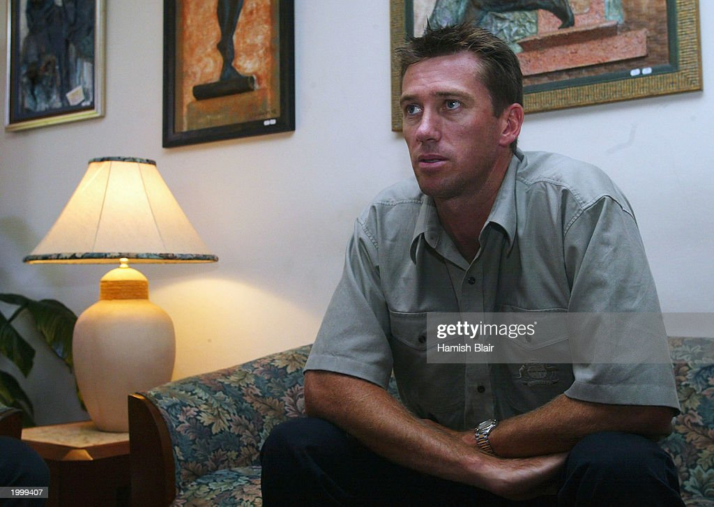 Glenn McGrath of Australia on May 14, 2003 at the Hilton Hotel in Kingston, Jamaica.