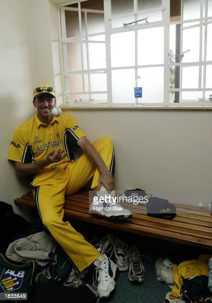 Glenn McGrath of Australia reflects on his 7/15 bowling performance after the ICC Cricket World Cup 2003, Pool A match between Australia and Namibia...
