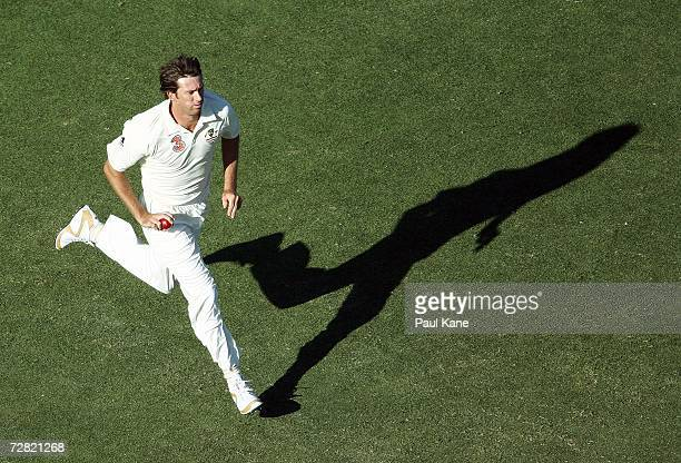Glenn McGrath of Australia runs in to bowl during day one of the third Ashes Test Match between Australia and England at the WACA on December 14 2006...