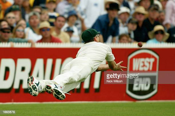 Glenn McGrath of Australia takes a catch to dismiss Michael Vaughan of England during the fourth day of the Second Ashes Test between Australia and...