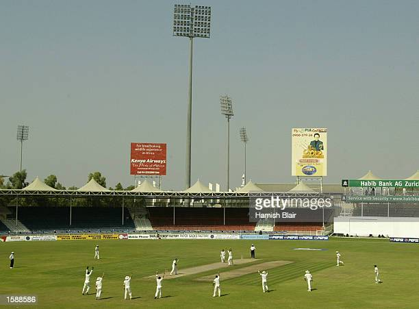 Glenn McGrath of Australia traps Younis Khan of Pakistan LBW during day three of the Third Test between Pakistan and Australia played at Sharjah...