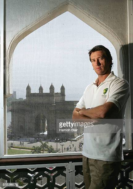 Glenn McGrath of Australia who is due to play his 100th Test in the next match looks on at the Taj Mahal Hotel, on October 22, 2004 in Mumbai, India.