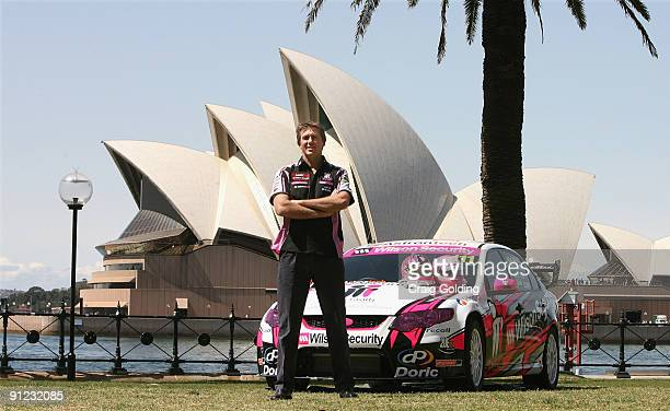 Glenn McGrath poses during the launch of the Team Mcgrath V8 supercar racing team at Dawes Point Reserve in The Rocks on September 29 2009 in Sydney...