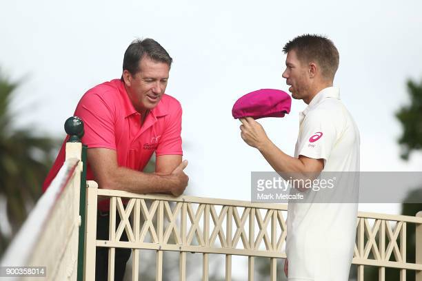 Glenn McGrath talks to David Warner before an Australian nets session at Sydney Cricket Ground on January 2 2018 in Sydney Australia