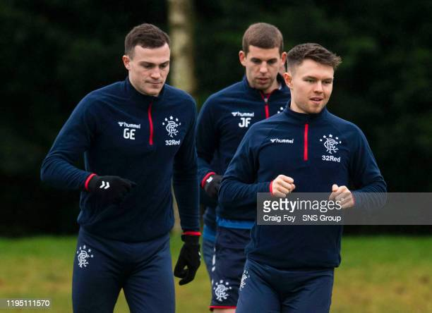 Glenn Middleton and George Edmundson during a Rangers training session at the Hummel Training Centre on January 21 in Glasgow Scotland