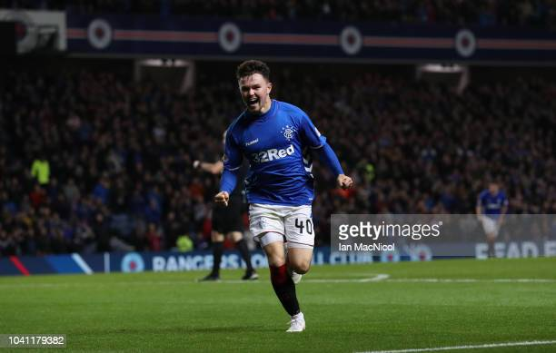 Glenn Middleton of Rangers celebrates after he scores the second goal of the game during the Betfred Scottish League Cup Quarter Final match between...