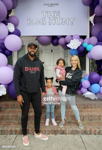 Glenn Milus and family attend the AKID Brand's 3rd Annual 'The Egg Hunt' at Lombardi House on March 17 2018 in Los Angeles California