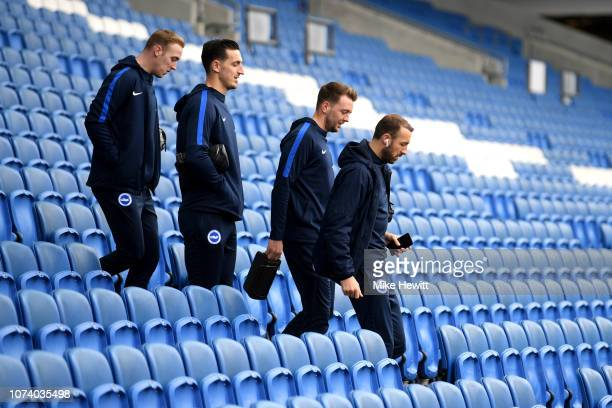 Glenn Murray Dale Stephens Lewis Dunk and Jason Steele of Brighton and Hove Albion arrive during the Premier League match between Brighton Hove...