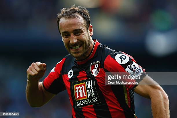Glenn Murray of Bournemouth celebrates scoring his team's first goal during the Barclays Premier League match between Manchester City and A.F.C....