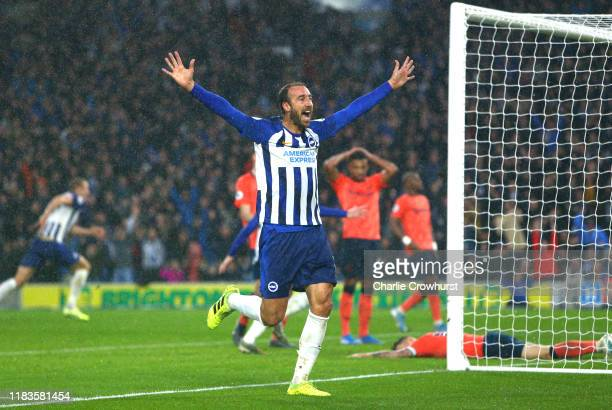Glenn Murray of Brighton and Hove Albion celebrates after his team's third goal, an own goal from Lucas Digne of Everton during the Premier League...