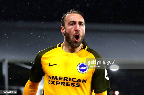 Glenn Murray of Brighton and Hove Albion celebrates after scoring his team's first goal during the Premier League match between Fulham and Brighton...