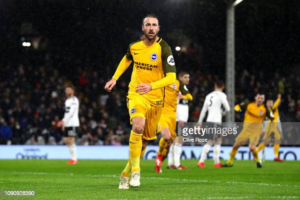 Glenn Murray of Brighton and Hove Albion celebrates after scoring his team's second goal during the Premier League match between Fulham and Brighton...