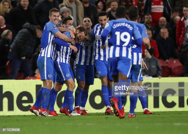 Glenn Murray of Brighton and Hove Albion celebrates aftervhe scores during the The Emirates FA Cup Fourth Round match between Middlesbrough v...