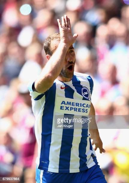 Glenn Murray of Brighton and Hove Albion celebrates scoring his sides first goal during the Sky Bet Championship match between Aston Villa and...