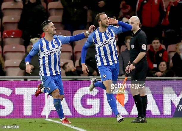 Glenn Murray of Brighton and Hove Albion celebrates scoring his side's first goal during The Emirates FA Cup Fourth Round match between Middlesbrough...