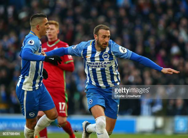 Glenn Murray of Brighton and Hove Albion celebrates scoring his side's second goal with Anthony Knockaert during the Premier League match between...
