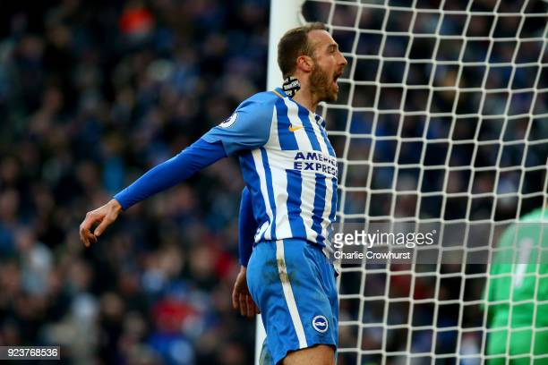 Glenn Murray of Brighton and Hove Albion celebrates scoring his side's second goal during the Premier League match between Brighton and Hove Albion...