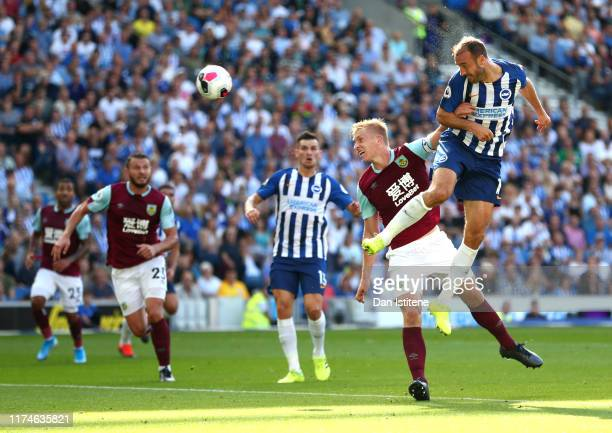 Glenn Murray of Brighton and Hove Albion headers on target during the Premier League match between Brighton & Hove Albion and Burnley FC at American...