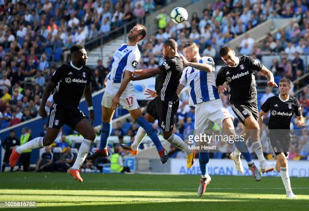 Glenn Murray of Brighton and Hove Albion heads towards the target during the Premier League match between Brighton Hove Albion and Fulham FC at...
