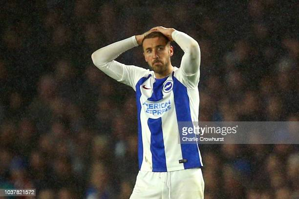 Glenn Murray of Brighton and Hove Albion reacts after his team's concedes a second goal during the Premier League match between Brighton Hove Albion...