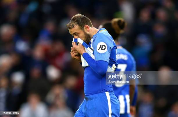 Glenn Murray of Brighton and Hove Albion reacts after missing the penalty shot during the Premier League match between Brighton and Hove Albion and...