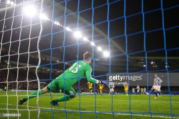 Glenn Murray of Brighton and Hove Albion scores a penalty for his team's first goal during the Premier League match between Brighton Hove Albion and...