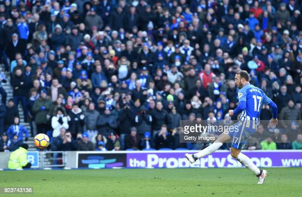 Glenn Murray of Brighton and Hove Albion scores a penalty his side's first goal during the Premier League match between Brighton and Hove Albion and...