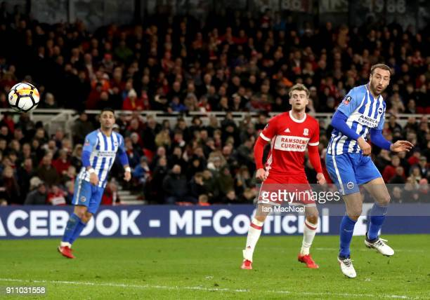 Glenn Murray of Brighton and Hove Albion scores his sides first goal during The Emirates FA Cup Fourth Round match between Middlesbrough and Brighton...