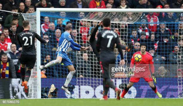 Glenn Murray of Brighton and Hove Albion scores his sides second goal during the Premier League match between Brighton and Hove Albion and Arsenal at...